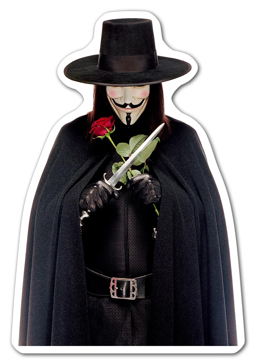Фигурная наклейка V for Vendetta / V значит Вендетта