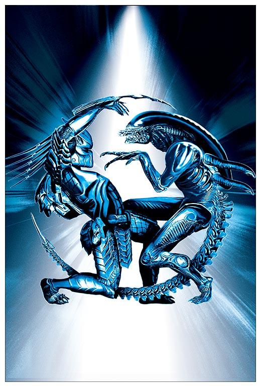 Прямоугольная интерьерная наклейка Aliens vs Predator / Чужие против Хищника